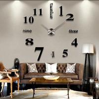 autocollants muraux achat en gros de-Moderne DIY Grand Horloge murale Miroir 3D surface autocollant Décoration Art Design Stickers muraux Horloges