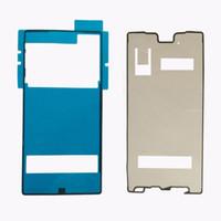 lcd yapışkan tutkalı toptan satış-10 takım Arka Kapak + LCD Çerçeve Su Geçirmez Yapıştırıcı Sticker Tutkal Sony Xperia Z5 Için Ön Konut LCD Dokunmatik Ekran Çerçevesi