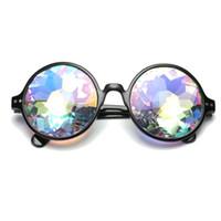 lunettes jouets rondes achat en gros de-2018 nouveaux lunettes kaléidoscope jouets prismatiques psychédéliques avec le même paragraphe rêve diamant rond lunettes de soleil au laser