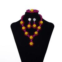 ingrosso mani libere africane-Perle di cristallo giallo rosso mano tessuto a mano da sposa set di gioielli da sposa collana dichiarazione gioielli africani set per le donne spedizione gratuita SN-1