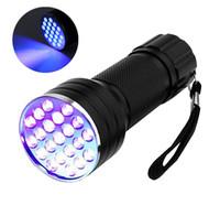 21 führte uv taschenlampe fackel großhandel-Mini 21 LED UV Taschenlampe Party Dekorationen Handheld LED Taschenlampe Pet Urin Detektor Batteriebetriebenes freies Verschiffen
