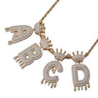 kabarcık zinciri toptan satış-Whosale A-Z Hiçbir Özel Ad Taç Damla Kabarcıklar Mektup Kolye Kolye Charm Ücretsiz Halat Zincir Ile Altın Gümüş Renk Kübik Zirkon Takı
