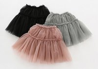 Wholesale girls black ballet tutu - New kids skirts Girls tutu skirt kids mesh patchwork solid color Skirt princess ballet skirts 3 colors