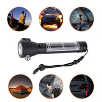Wholesale types led flashlight bulbs - 5000LM CREE XM-L T6 Multifunction Emergency Torch Lights Led Solar Flashlight With Safety Hammer Compass Magnet Power Bank SOS