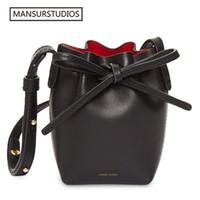 Wholesale mini red buckets for sale - Group buy 2017 MINI bucket bag mansur women Split leather MINI shoulder bag lady leather cross bag freeshiping