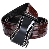 ремень для мужчин оптовых-DiBanGu Mens Casual Leather Belt  Cowhide Genuine Leather Automatic Buckle Belts for Mens Red Jeans Belt Strap DJ-2037-C
