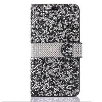 galaxia billetera de diamantes al por mayor-Para iPhone 8 Galaxy ON5 Wallet Diamond Funda iPhone 6 Funda LG K7 Stylo Bling Bling Funda Cristal PU Cuero Ranura para tarjeta Opp Bag 2018 CALIENTE NUEVO