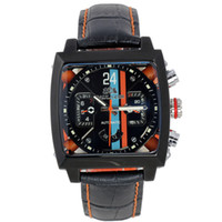 спортивные спортивные часы оптовых-Men Automatic Self Wind Mechanical Stainless Steel Black Orange Genuine Leather Strap Blue Sports 40mm See Through Watch