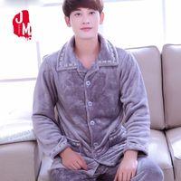 Winter Men Pajama Sets Coral Fleece Thick Solid Men Sleepwear Suits Flannel  Long Sleeve Autumn Pajama Man Warm Homewear XXL XXXL fb2fd9782