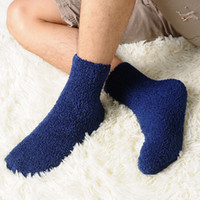 Wholesale pure white bedding for sale - New Winter Warm Extremely Cozy Cashmere Socks Women Men Pure Color Sleep Bed Floor Home Fluffy Long Socks