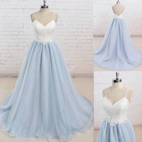 Wholesale Dresse Tulle - prom dresse prom dress Hand Made Flowers mermaid prom dresses A-Line Sweetheart Backless Sweep-Train Light Sky Blue Satin Tulle
