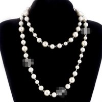 Wholesale long chain choker necklace for sale - Group buy 2018 brand designer Long Sweater Chain Colar Maxi Necklace Simulated Pearl Flowers Necklace Women Fashion Jewelry bijoux femme