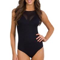 ingrosso vestiti europei di bikini-Nuovo modello europeo e americano donne nero Grenadine Perspectiv Bikini Lady Sexy costume da bagno One Piece adatta costumi da bagno 25bj W