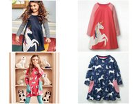 Wholesale kids hoses online - Baby Girls Unicorn Appliqued Princess Dress Kids Cartoon Hose mermaid flamingo Animal Printed boutique fall clothing Cotton A line Dress