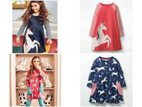 kız elbiseler hayvanlar toptan satış-Bebek Kız Unicorn Aplike Prenses Elbise Çocuklar Karikatür Hortum mermaid flamingo Hayvan Baskılı butik güz giyim Pamuk A-line Elbise