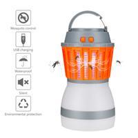 luz nocturna de mosquitos al por mayor-Mosquito Killer Lamps LED Night Light Bug Zapper repelente de mosquitos impermeable recargable portátil para uso en interiores / viajes