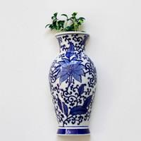 Wholesale Porcelain Blue Ceramic Vases - Metope Vase Ceramic Wall Hanging Flower Receptacle Blue and White Porcelain Of Jingdezhen Ceramics