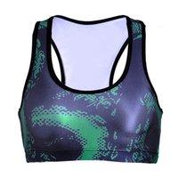 grüne weste für mädchen großhandel-Mädchen Sport-BH Green Dragon 3D Grafik Full Print Yoga Gym Fitness Läufer Laufen Sportwear Bras Push Up Crop Tops Tank Weste