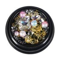 ingrosso ciottoli pietre-1 Scatola Decorativa Nail Perla Pebble Stone Strass gioielli Multi-specie Mixed Nail Art Decoration 10 Opzionale