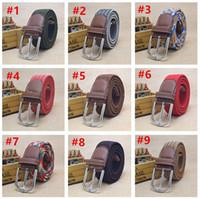 cinturón de lona niños al por mayor-Cinturones Cinturones de niños de diseño niños de la manera hebilla de la aguja de la pretina de la obra clásica de lona de los niños Cinturones de punto Niños Niñas Ocio Pretinas