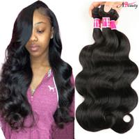 Wholesale brazilian unprocess - Mink Brazilian Hair Weave Bundles Brazilian Body Wave Virgn Hair Unprocess Peruvian Malaysian Indain Human Hair Extensions Natural black
