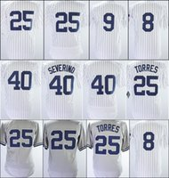 mike moustakas jersey al por mayor-Hombres New Best Quality Baseball Jerseys Blanco 40 Luis Severino Jersey 8 Yogi Berra 9 Roger Maris 25 Gleyber Torres cosido Baseball Jerseys