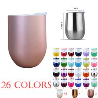 Wholesale Wine Cup Lid Wholesale - 9oz Egg Cups rose gold tumblers with Lid Stainless Steel tumbler Wine glasses Double Wall Vacuum Insulated Beer Mug Baseball cup 26 colors