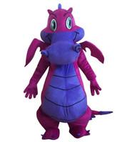 ingrosso costumi della mascotte di grandi dimensioni-2018 Professional New Big Purple Dragon Mascot Costume Fancy Dress adulto