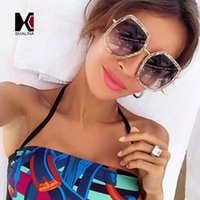 Wholesale pearl shade - SHAUNA Oversize Double Colors Frame Women Square Sunglasses Fashion Pearl Effect Ladies Gradient Lens Shades UV400