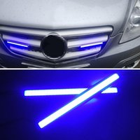 evrensel drl ışıkları toptan satış-2 Adet 17 CM Evrensel COB LED Şerit Araba Gündüz Sis Lambası DRL Sürüş Şerit Işık Esnek LED Bar Şerit Su Geçirmez 10-16 V