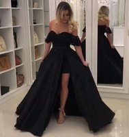 sage black Canada - 2018 Sexy Black Prom Dresses Lace Off Shoulder Side Split Long Formal Prom Party Gowns Evening Dress