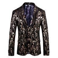 ingrosso uomini di velluto nero velluto-Luxury Gold Black Velvet Blazer Hombre Barocco Fancy Prom Wedding Slim Fit Blazer Masculino Plus Size 5xl Giacca da uomo