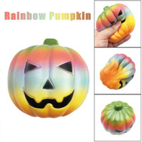 Wholesale pumpkin gifts - Fun Rainbow Pumpkin squishy jumbo slow rising kawaii 10cm Soft Squeeze Stress Reliever Kids Gift Novelty Items EEA275