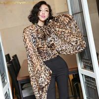 ingrosso abbigliamento pizzo-Luoanyfash Leopard Shirt Donna Chiffon Lace Up Bow Lantern Sleeve Oversize Camicetta Top per le donne Estate scava fuori abiti sexy