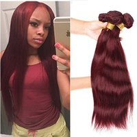 Wholesale red ombre human hair extensions weave resale online - Burgundy Wine Red Color J Brazilian Virgin Hair Weave Bundles Peruvian Malaysian Indian Silky Straight Human Hair Extension Red Hair Weave