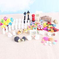 mini iluminación de jardín al por mayor-DIY Micro Paisaje Ornamento Del Jardín Lindo Animal Casa Street Light Dollhouse Set Mini Macetas Bonsai Craft Popular 22hp B