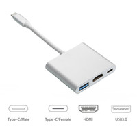 Wholesale Av Switches - Type C to HDMI 3 In 1 Adapter Cable 3.0 USB 4K HDMI Multiport AV Converter 3-in-1 Recharging Port Switch for NES Phone Macbook Tablet OTH782