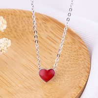 Wholesale tiny charm wholesale - 2018 fashion jewelry for Women Fashion Collier Cute Tiny Red Glaze Heart Pendant Necklace For Women Girls Lady Gifts 162637