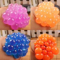 Wholesale funny stress reliever - Anti Stress Mesh Face Reliever Grape Ball Autism Mood Squeeze Relief Healthy Toy Funny Gadget Vent Decompression toys Gifts