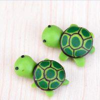 ingrosso miniature di giardino fiabesco-artificiali simpatici animali verdi tartaruga fata giardino miniature gnomi muschi terrari in resina figurine per la decorazione del giardino