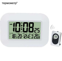 calendario controlado por radio al por mayor-Termómetro grande del reloj de pared del LCD Digital interior con el transmisor de temperatura al aire libre Reloj de alarma controlado con radio del calendario de la tabla del RCC