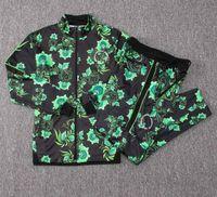 штаны зеленого трикотажа оптовых-Нигерия спортивный костюм зеленый цветок длинный рукав футбол куртка 18-19 Нигерии длинные молнии STARBOY Okocha кофта комплект футбол костюм брюки