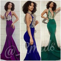 Wholesale Fish Dress Up - 2018 Sexy Plunge V Neck Prom Dresses Appliques Mermaid Fish Train Elegant Backless 2K17 2K18 Formal Evening Occasion Party Gown