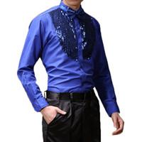 kostüm rumba dansı toptan satış-Erkekler Uzun kollu Erkek Balo Salonu Dans Elbiseler Latin Dans Kostümleri Pamuk Blend Pullu Gömlek Modern Tango Rumba Giymek
