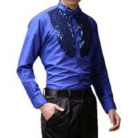 latin ballroom pailletten tanz kleider großhandel-Männer Langarm männlichen Ballroom Dance Kleider Latin Dance Kostüme Baumwollmischung Pailletten Shirt moderne Tango Rumba Wear