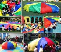 Wholesale Cartoon Kids Umbrellas - Children Kids Play Parachute Rainbow Umbrella Parachute Toy Outdoor Game Exercise Sport Toyg outerdoor Activity Toy 2M 3M 3.6M 4M 5M 6M