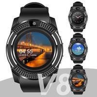 controlador de iphone bluetooth al por mayor-Para apple V8 smart watch muñeca reloj bluetooth reloj con ranura para tarjeta SIM controlador de la cámara para iPhone Android Samsung hombres mujeres PK DZ09