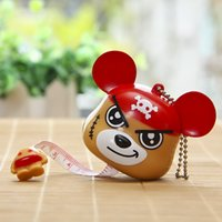 Wholesale role tape - DIY Home Decoration Tool Box Packaged Simple Tape Measure One Piece Bear Couple Key Chain Bags Pendant