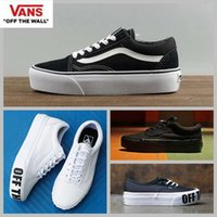 Wholesale Thick Platform Sneakers - 2018 VANS Platform Off the wall Old Skool Black Running Shoes For Women Fashion Designer Thick Casual Canvas Sneakers 36-44