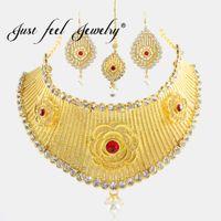 collar indio de la boda de la perla del oro al por mayor-SOLO SENTIRSE Crystal Gold Color Grandes Conjuntos de Joyas Tocado Collar Pendientes Flor India Perlas de Imitación Conjunto de Boda Para Las Mujeres